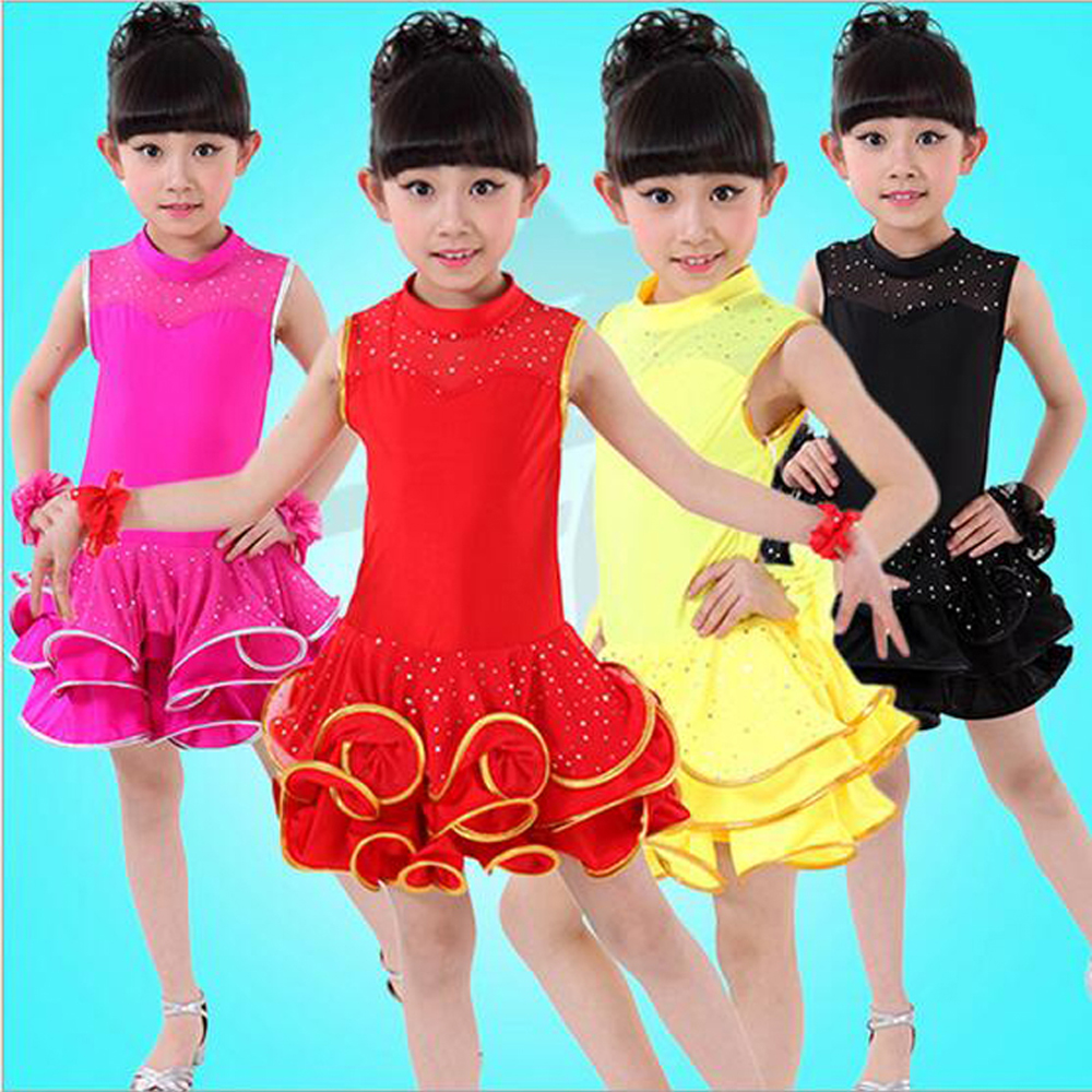 2017 dance wear latin kids dance costumes cha cha competition dresses modern tango dance dresses stage and dance wear children