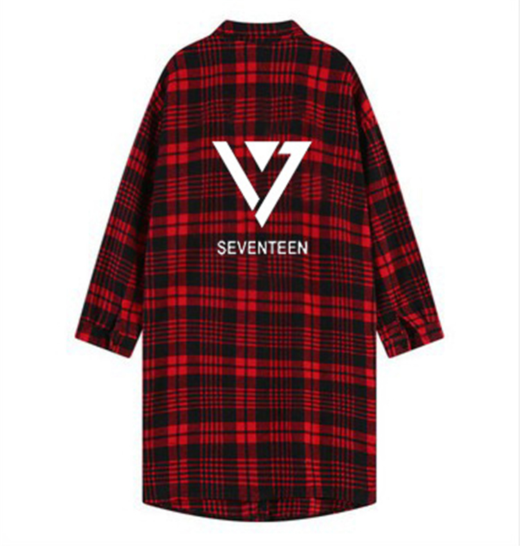 Kpop пальто в стиле K POP рубашка с номером семнадцать унисекс черная одежда Polito Seventeen 17 клетчатый Тренч с лацканами красный Свитшот свободный с