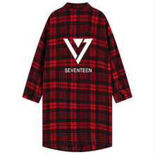 Kpop Kpop coat seventeen shirt unisex black clothing Polito Seventeen 17 Plaid Lapel Trench