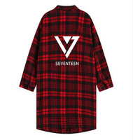 Kpop Kpop coat seventeen shirt unisex black clothing Polito Seventeen 17 Plaid Lapel Trench red sweatshirt loose long sleeved 17
