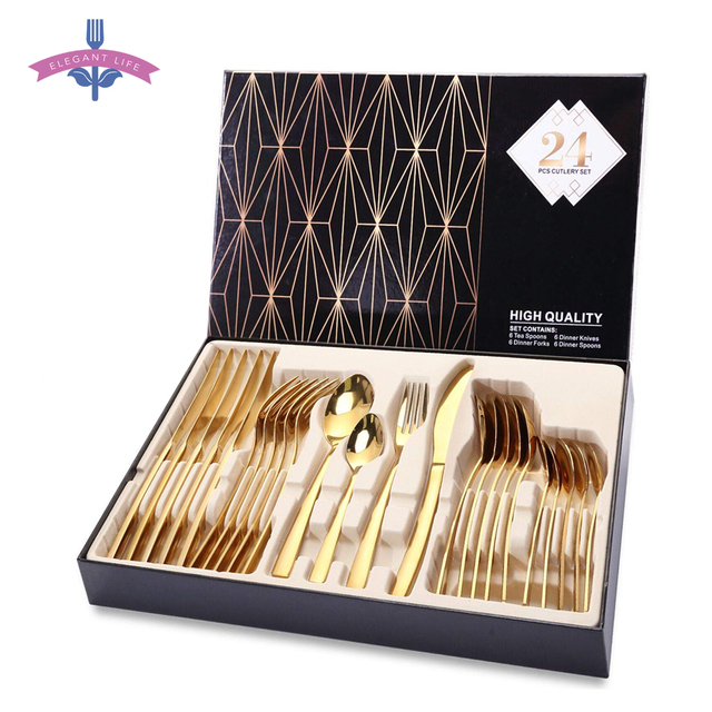 24PCS Gold Cutlery Dinner Set Cutlery Set Dishes Knives Forks Spoons Western Kitchen Dinnerware Stainless Steel Tableware Home