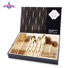 24PCS Tableware Gold Cutlery Set Dishes Dinnerware Set Knives Forks Spoons Western Kitchen 18/10 Stainless Steel Dinner Gift