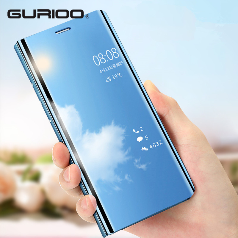 Gurioo Clear View Smart Mirror Phone Case For iPhone XR XS MAX X 8 7 6 6s Plus Cases Flip Stand Leather Cover For iphoneX Caqa iPhone XR