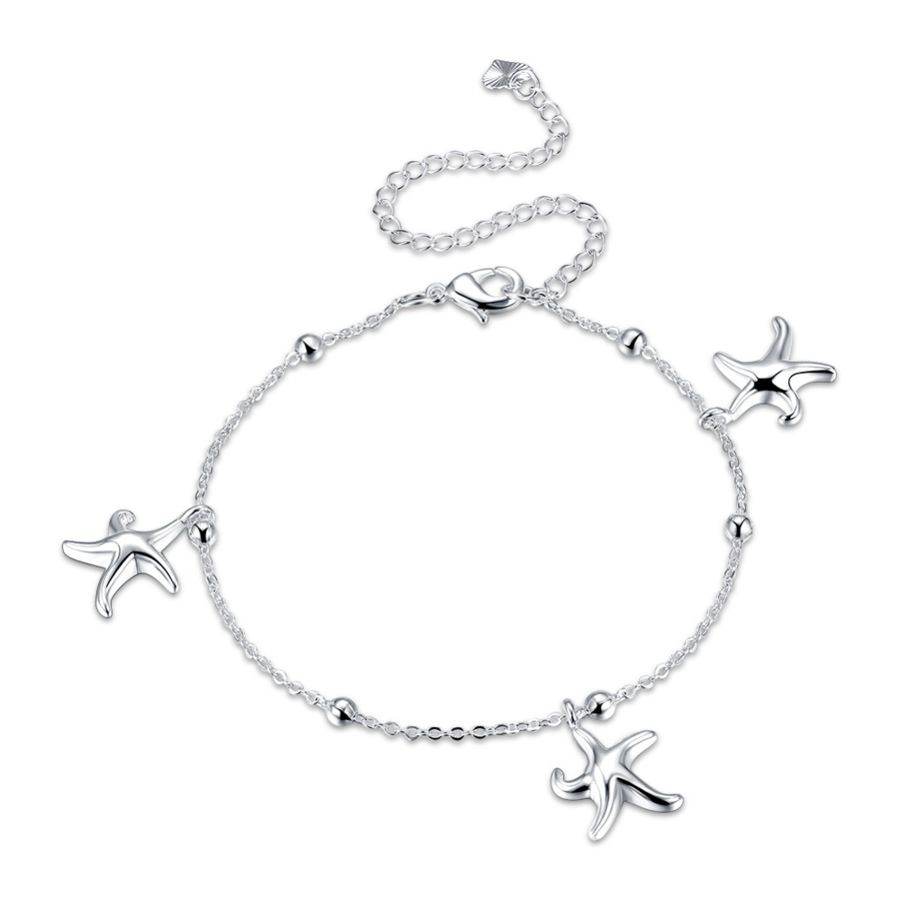 Fashion sterling silver jewelry female models fashion anklet personality starfish pendants standard silver lobster clasp