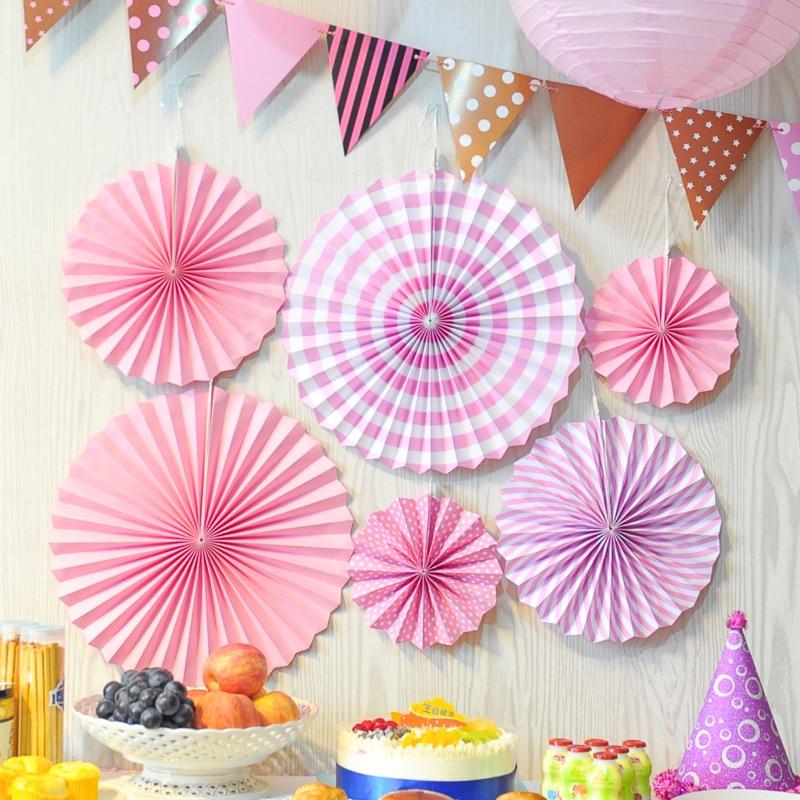 Wedding Paper Crafts 40/30/20CM 6PCS/lot Flower Origami Paper Fan DIY Wedding Birthday Party Decorations Supplies Kids