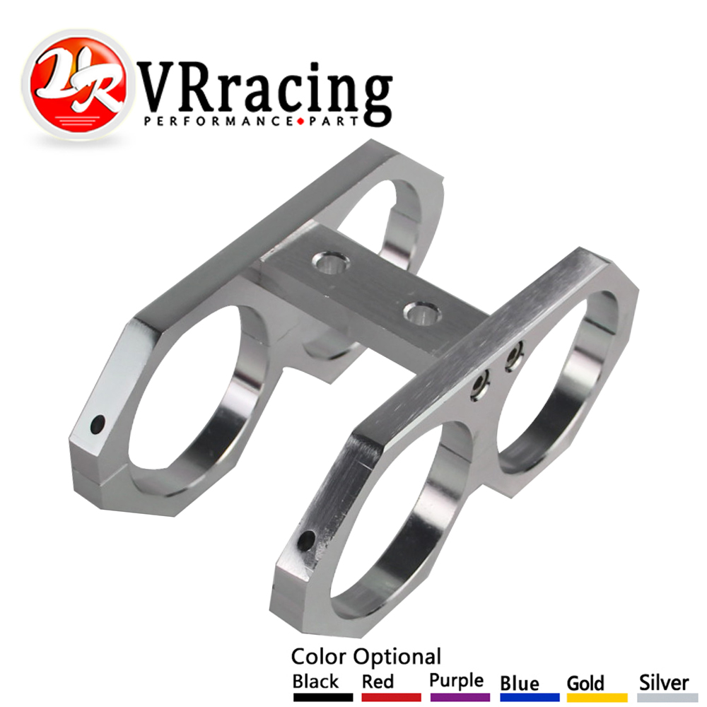 VR RACING - 60 MM Twin Dual Fuel Pump Mounting Bracket Clamp In-line 0580254044 300lph Pompa Bahan Bakar Bracket VR-LD2611