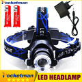 3800LM Headlight CREE T6 LED Headlamp Head Lamp Torch Powered LED Flashlights Biking Fishing Torch with 18650 Battery Charger