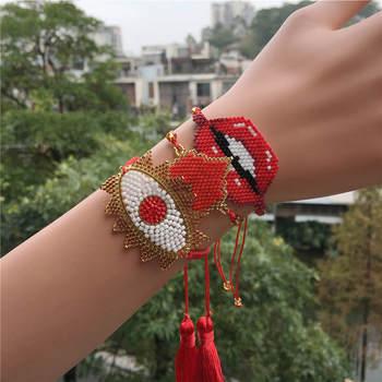 Go2boho MIYUKI Bracelet Evil Eye Bracelets Women Pulseras Mujer Moda 2019 Summer Jewelry Turkish Tassel Gift