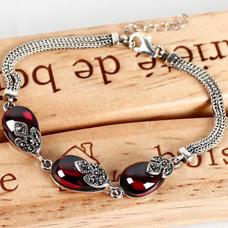 FNJ 925 Sterling Silver Bracelets Water Drop Synthetic Garnet Stone 17cm+3CM S925 Thai Silver Chain BraceletFNJ 925 Sterling Silver Bracelets Water Drop Synthetic Garnet Stone 17cm+3CM S925 Thai Silver Chain Bracelet