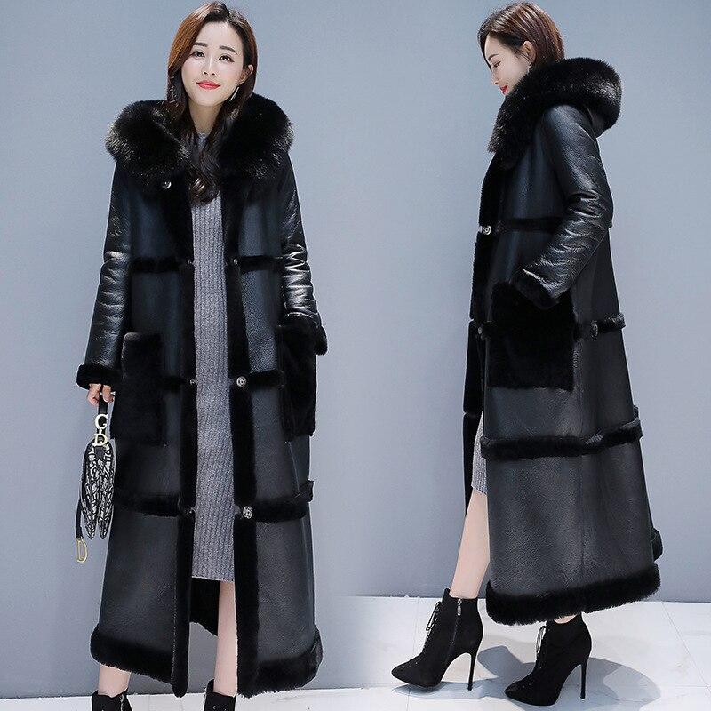 Большой размер, зимняя куртка из овечьей шерсти, пальто для женщин, длинная куртка из искусственной кожи, женское утепленное теплое пальто с капюшоном, пальто из искусственного меха|Куртки из искусственного меха|   | АлиЭкспресс