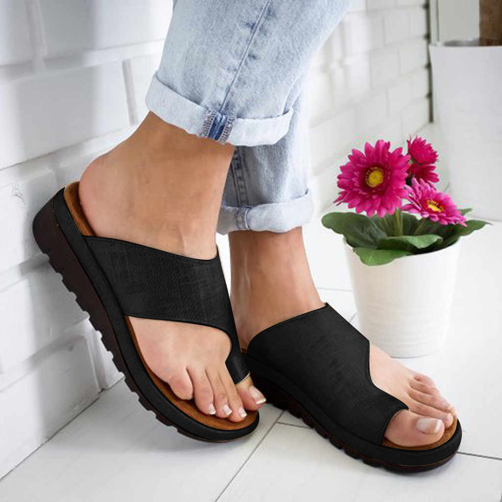Sandals Women Ladies Summer Toe Cover Strap Solid Flat Slippers Beach Sandals Roman Shoes Orthopedic Bunion Corrector #P