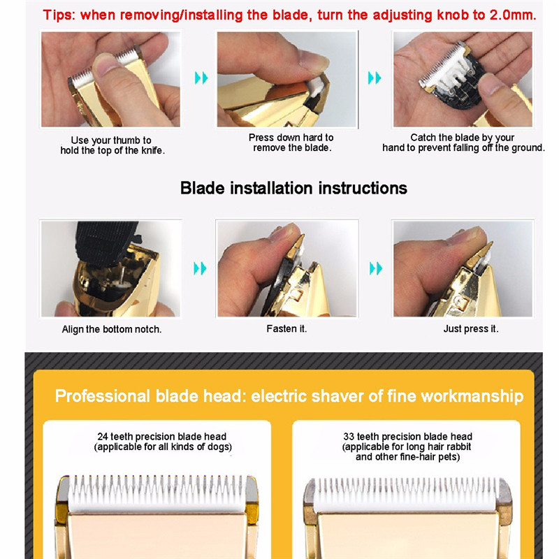 Professional Pet Dog Cat Hair Clipper Replaceable Ceramic Blade Cut Head Dog Hair Trimmer Grooming Blades4