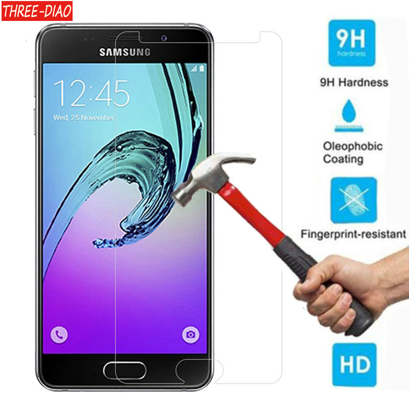 THREE-DIAO מזג זכוכית עבור Samsung Galaxy A3 A5 A7 J5 J2 ראש מסך מגן בטיחות מגן סרט 2015 2016 2017 גרסה