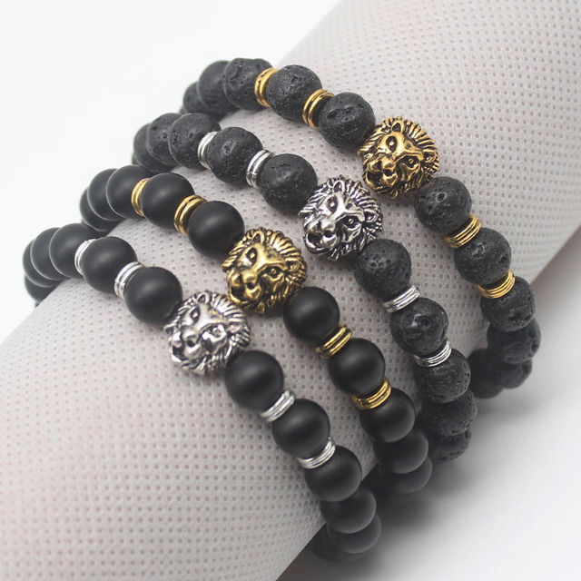Antique Gold or Silver Plated Buddha Leo Lion Head Bracelet Black Lava Stone or Black Matt Stone