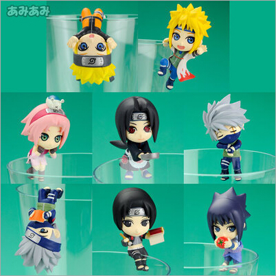 NEW hot 6cm 8pcs/set naruto creative Uchiha Itachi Kakashi Uchiha Sasuke Namikaze action figure toys collection Christmas gift pu short wallet w colorful printing of naruto shippuden uchiha itachi