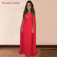 Red Long Muslim Evening Dress Arabic Style Dubai High Neck Saudi Arabia Formal Evening Gowns Dresses