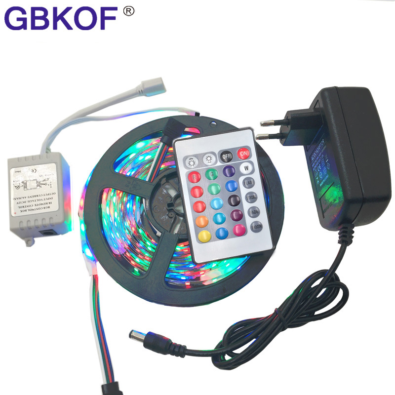 RGB/White/Warm white/Bule/Red/Green/Yellow 5m SMD 3528 LED strip light diode tape 300leds non waterproof+DC 12V 2A power adapter 5m rgb led strip flexible light belt 2835 waterproof diode band diode tape power supply 12v outdoor warm white blue red green