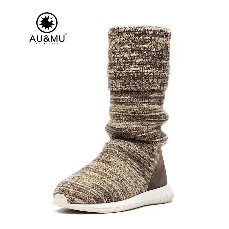 2017 AUMU Australia Suede Kniting Slip-on Thick Platform Round Toe Rubber Soles Snow Winter Boots UG N729 2018 aumu australia breathable thick