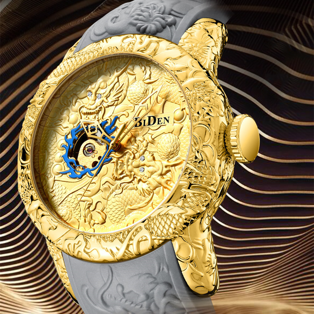 2018 Black Golden Watches Unique Dragon Dial Waterproof Mens Mechanical Skeleton Watches Top Brand Luxury Male Automatic Clock binger mens watches top brand luxury mechanical skeleton watch black golden 3d literal design roman number black dial designer