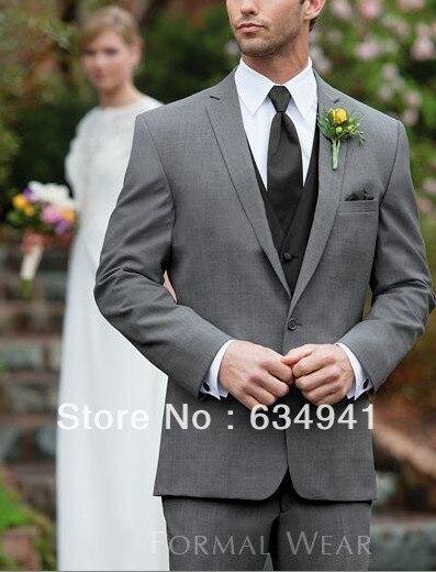 Dark Grey Jacket Pant Black Vest Tie Italian Men Suit