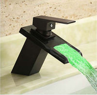 Led Oil rubbed faucet Bronze Waterfall Modern Bathroom Sink Faucet Volvey led waterfall basin mixer black glass water sink tap