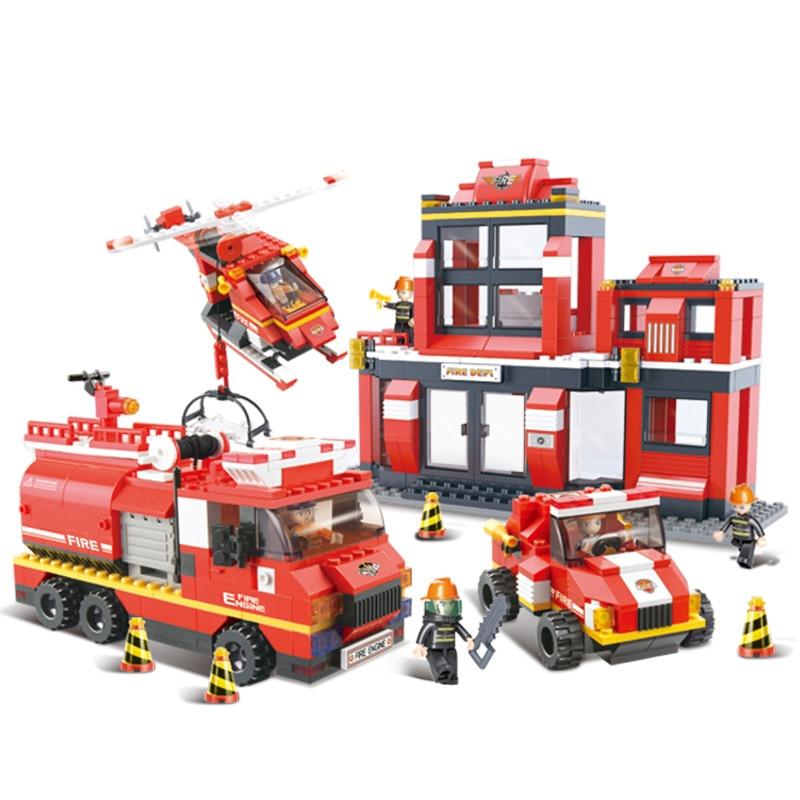 0226 693pcs Fire Rescue brigade Constructor Model Kit Blocks Compatible sluban Bricks Toys for Boys Girls Children Modeling
