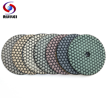 RIJILEI 7Pcs/Set 5 Inch Dry Polishing Pad Sharp Type 125mm Flexible Diamond For Granite Marble Stone Sanding Disc - discount item  32% OFF Power Tools