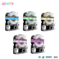 Labelife 5Pcs 12mm Pale Colo AW12PH AW12YH AW12GH AW12BH AW12VH Compatible for Epson/Kingjim Label Printer LW 400