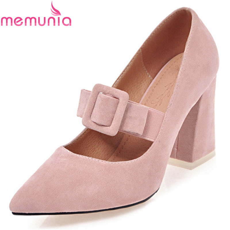 MEMUNIA new arrive women pumps fashion pointed toe shallow bowknot spring autumn single shoes platform high heels dress shoes memunia 2017 fashion flock spring autumn single shoes women flats shoes solid pointed toe college style big size 34 47