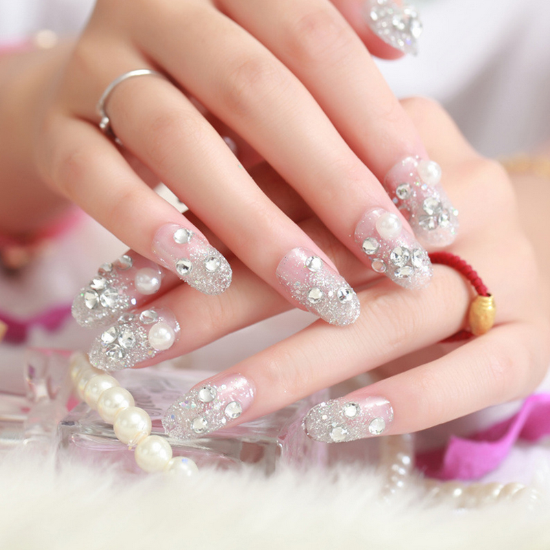 New Bride Artificial 3D White diamond False Nails, Wedding French ...