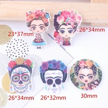 10Pcs Mixed Planar Resin Flower Girl Charm DIY For SLIME Brooch Clothing Accessories Plate