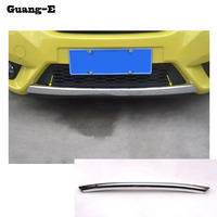 Car body cover Bumper engine ABS Chrome trim Front bottom Grid Grill Grille edge 1pcs for Honda FIT JAZZ 2014 2015 2016 2017