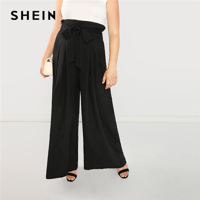ebac590580c2 SHEIN Women Plus Size Black High Wasit Wide Leg Pants With Sashes Spring  Autumn Elegant Belted Loose Solid Pleated Trousers