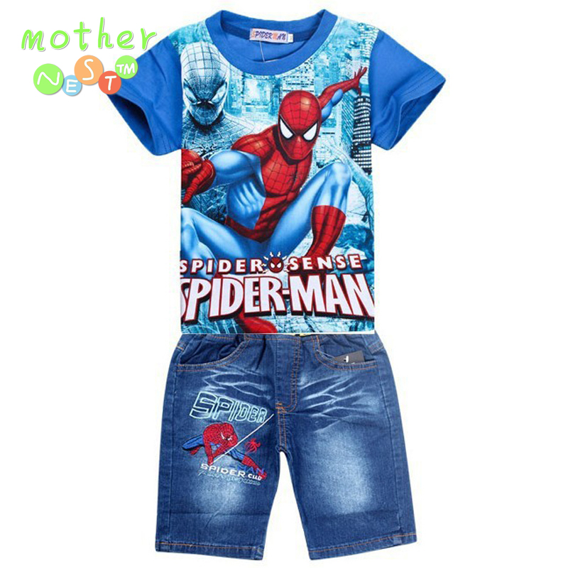 2017 new spiderman boys clothing sets,fashion summer kids t shirt jeans short clothes set,retail baby children outfits