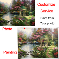 Hand painted Wall art on Canvas Custom Portrait landscape oil painting Modern canvas art for living room Paint from photo