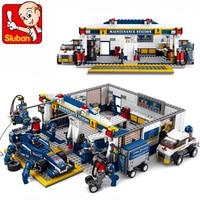 SLUBAN 0356 F1 Racing Car Repair Station Building Blocks Brick Set Compatible LegoIN Technic Playmobil Toys For Children