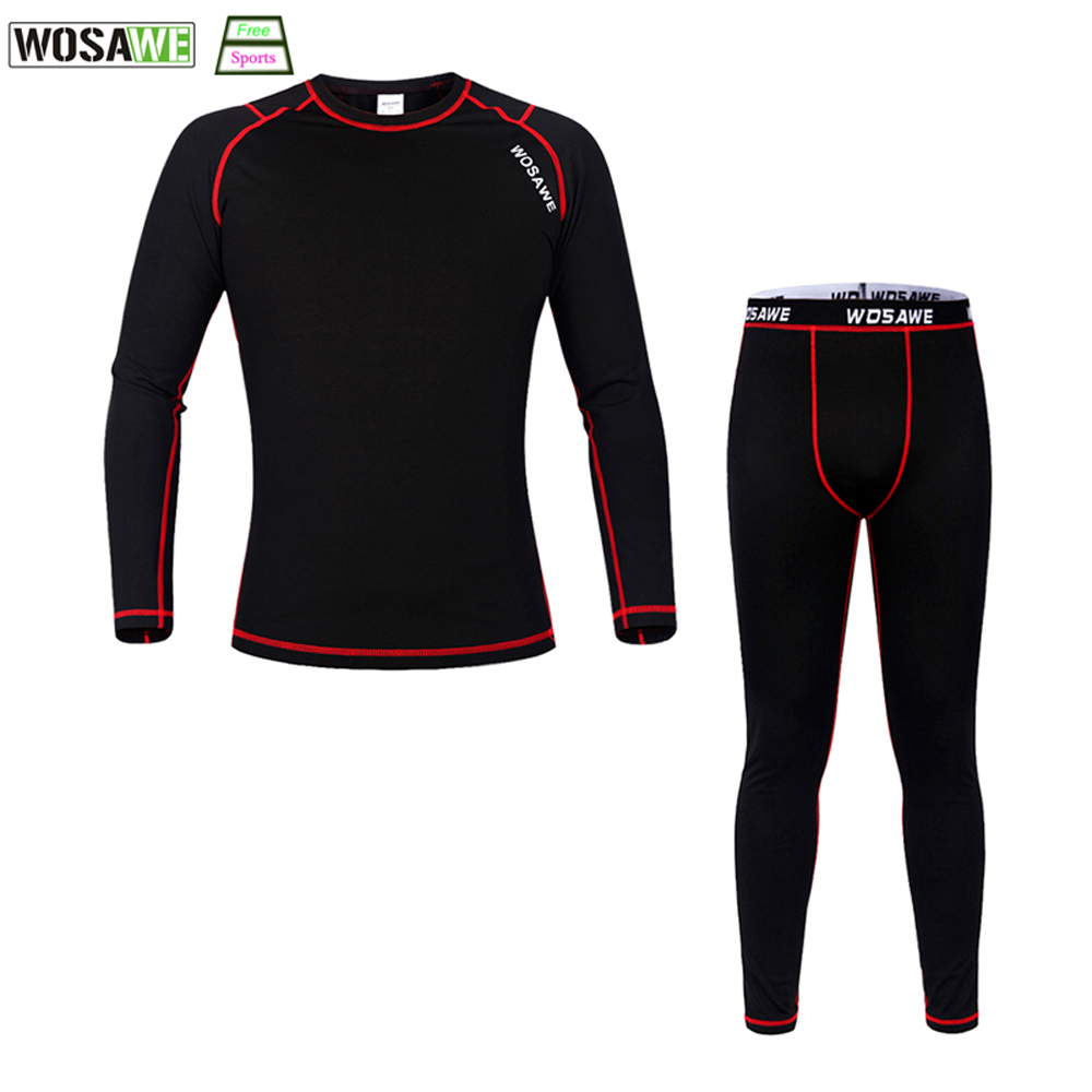 WOSAWE Winter Bicycle Jersey Set tops pants compression breathable Outdoor Sports Fitness Underwear Fleece Cycling Base Layers wosawe cycling set bicycle jacket pants men waterproof bicycle clothing long jersey reflective bike set outdoor sportswear k2432