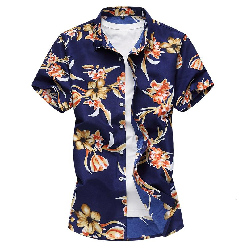 Short sleeve Hawaiian Shirt Mens Clothing Casual Summer Shirts Floral Blouse Men Flower New