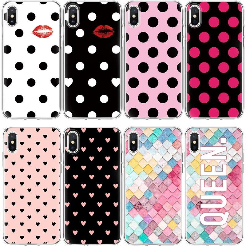 Чехол в горошек для iPhone 4 4S 5S SE 5C 6 S 6 S 7 8 Plus X TPU чехол для Xiao mi Red mi S2 4A 3S mi A1 5X Note 3 4 4X 5A 5 Pro Чехол