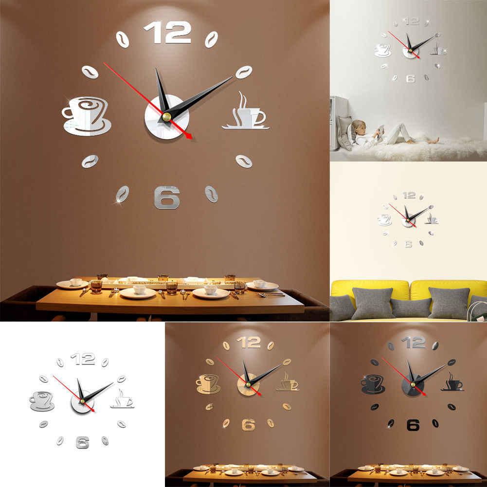DIY 3D Nomor Jam Dinding Cermin Stiker Rumah Kamar Modern Kantor Decor Seni Desain