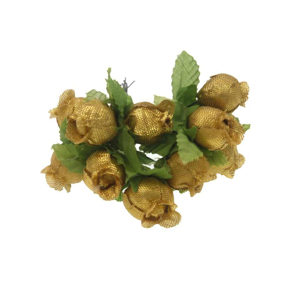 12 個 2 センチメートルミニシルクローズフラワー造花ブーケ結婚式ホームデコレーション花輪 Diy のキャンディーボックスアクセサリー