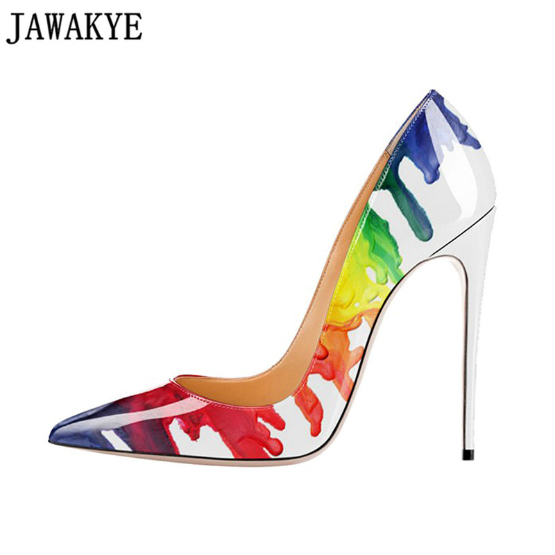 Spring 12 cm high heels lady pumps patent letaher graffiti print flowers wedding shoes women sexy pointy toe stilettos plus size big size 40 41 42 women pumps 11 cm thin heels fashion beautiful pointy toe spell color sexy shoes discount sale free shipping