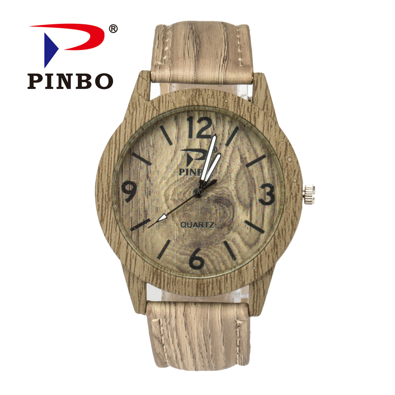 New Brand PINBO Vintage Quartz Watch Men Dress Leather Wood Grain Casual
