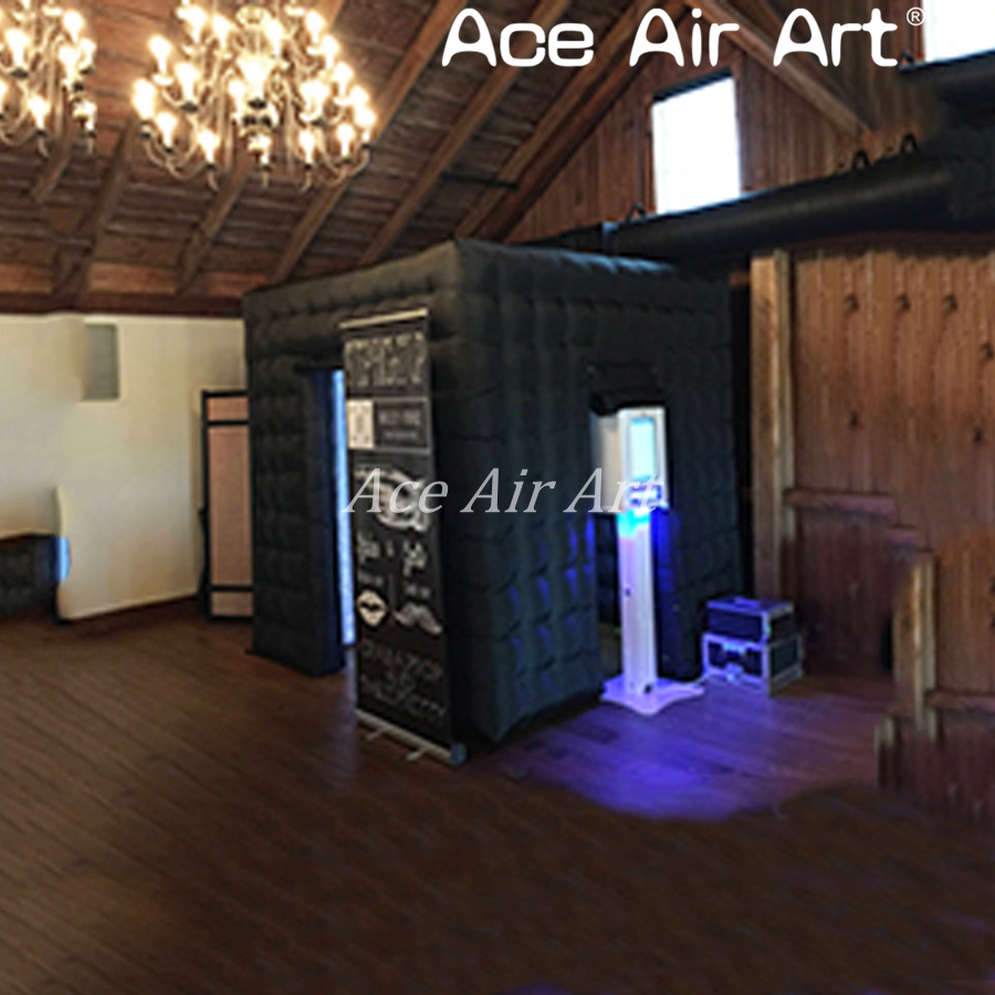 Durable full black inflatable LED photo booth,party kiosk,photo backdrop with led lights for wedding rentals