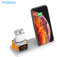 FDGAO 10W Qi Wireless Charger For iPhone X 8 XS MAX XR Apple Watch 4 3 2 Airpods USB Fast Charging Dock Stand For Samsung S9 S8