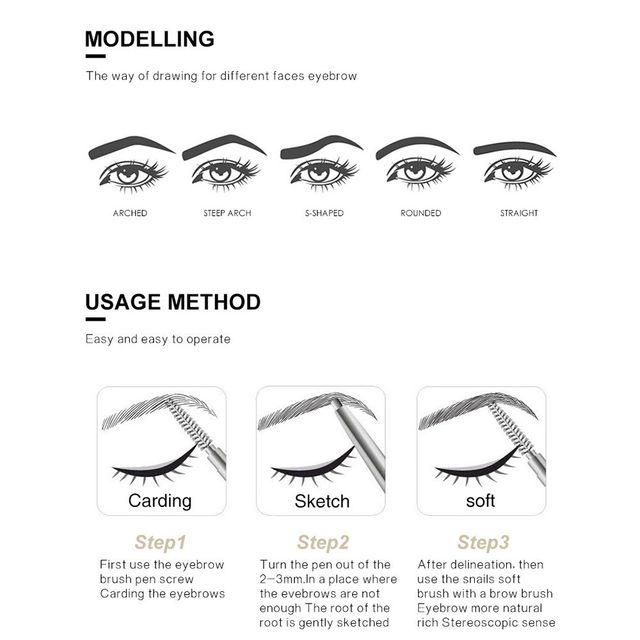HANDAIYAN 5 Color Waterproof Eyebrow Pen Microblading Eyebrow Pen Crayon Sourcils Automatically Rotate Double Head Eyebrow Pen 5