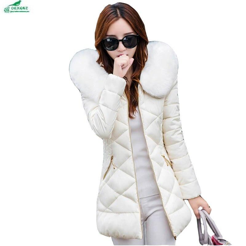 Autumn women feather cotton Outerwear female long section large size Fur collar winter Slim leisure cotton jacket coat OKXGNZ