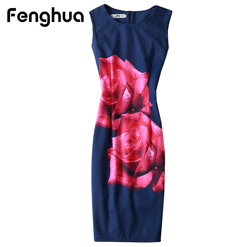 Fenghua Summer Dress Woman Party Dresses 2017 Elegant Sexy Casual Slim Floral Print O Neck Bodycon
