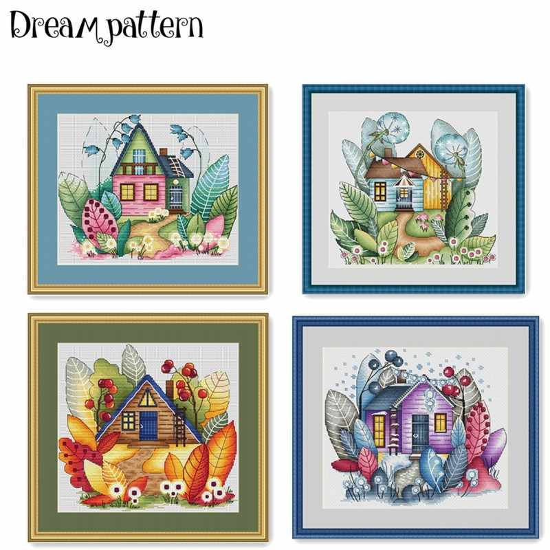 Magic house of 4 season cross stitch package spring summer 18ct 14ct 11ct cloth cotton thread embroidery DIY handmade needlework