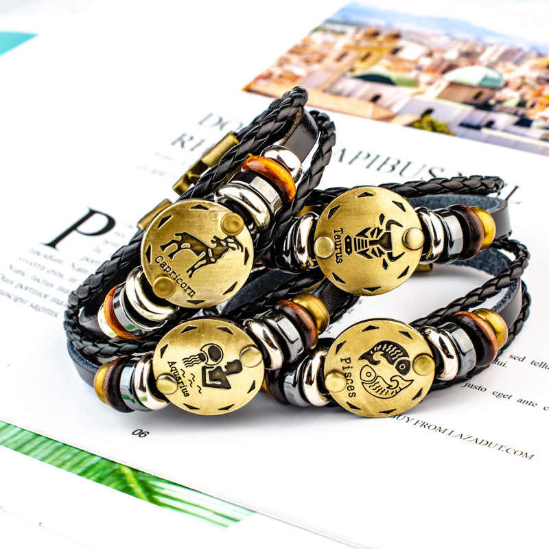 Wholesale MEN punk Zodiac Signs Aries Leo Bracelet Constellations charm men bracelets Virgo Pisces Pendant Women DropShiping